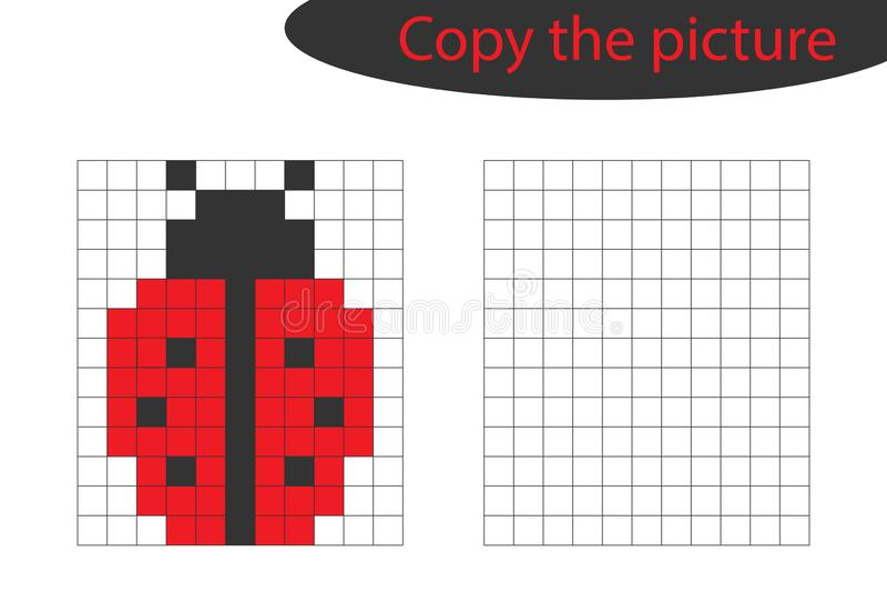 Copiez l'image, art de pixel, bande dessinée de coccinelle, la formation de dessin de qualifications, jeu de papier éducatif pour illustration stock