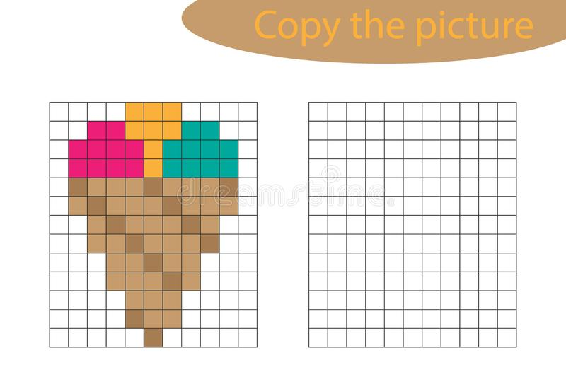 Frontière De Crème Glacée De Pixel Illustration De Vecteur