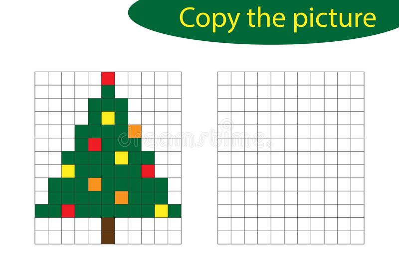 Copiez l'image, art de pixel, bande dessinée d'arbre de Noël, la formation de dessin de qualifications, jeu de papier éducatif po illustration libre de droits