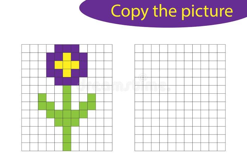 Copiez l'image, art de pixel, bande dessinée de fleur, la formation de dessin de qualifications, jeu de papier éducatif pour le d illustration libre de droits