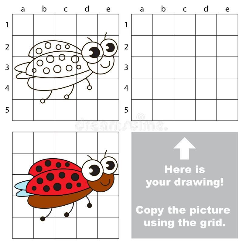 Copiez l'image utilisant la grille coccinelle illustration de vecteur