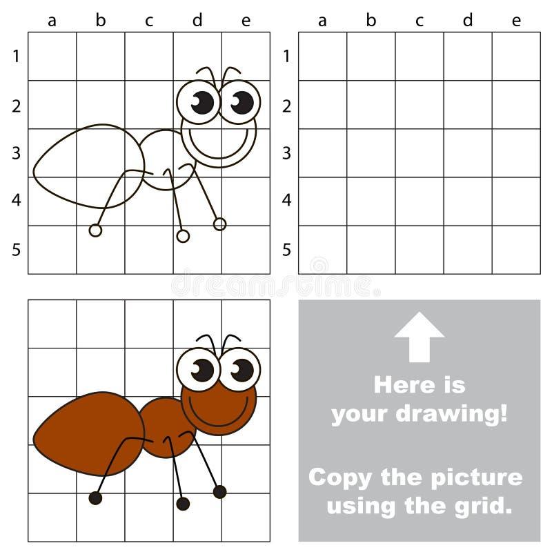 Copiez l'image utilisant la grille La fourmi illustration libre de droits