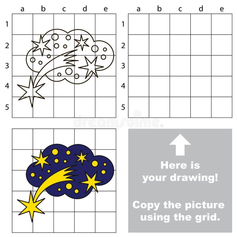 Copiez l'image utilisant la grille, le jeu éducatif simple d'enfant illustration de vecteur