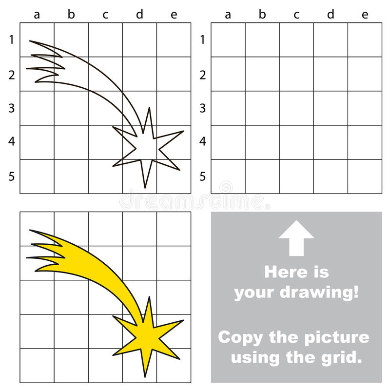 Copiez l'image utilisant la grille, le jeu éducatif simple d'enfant illustration libre de droits