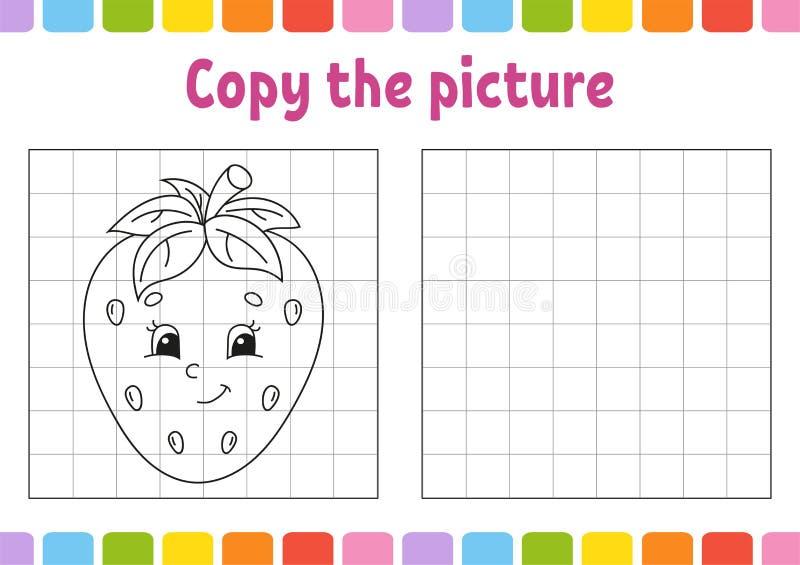 Copiez la photo Pages de livre de coloriage pour des enfants Fiche de travail se d?veloppante d'?ducation Jeu pour des enfants Pr illustration stock