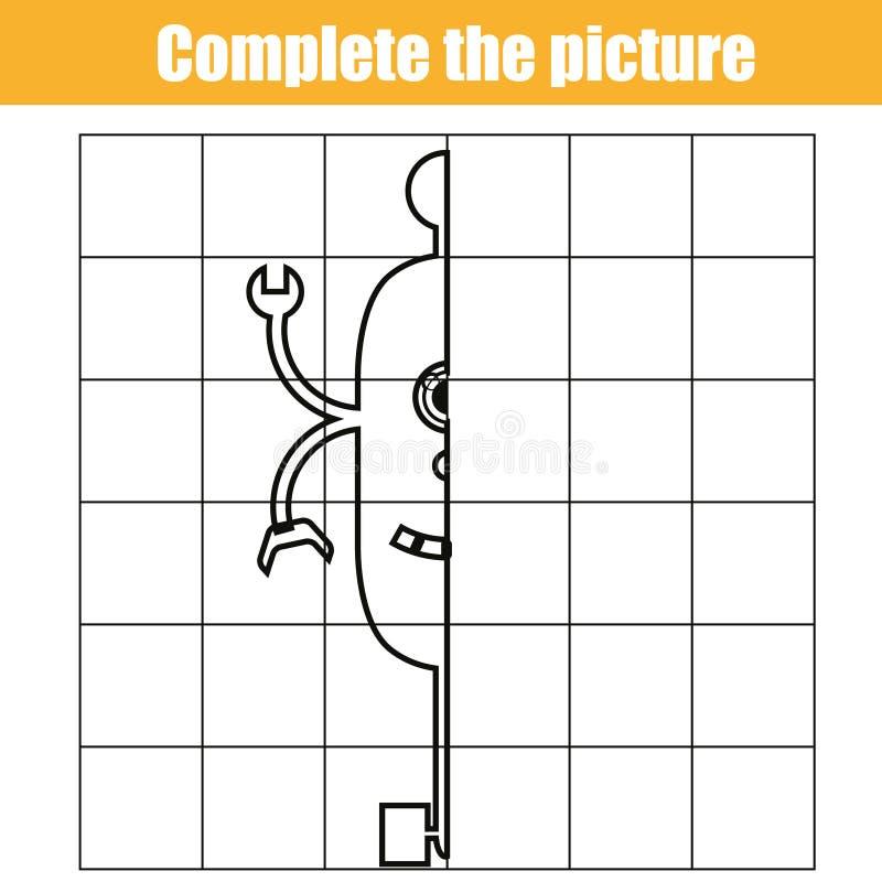 Copiez par grille Accomplissez le jeu éducatif d'enfants de photo, colorant la page Badine la feuille d'activité avec le caractèr illustration libre de droits