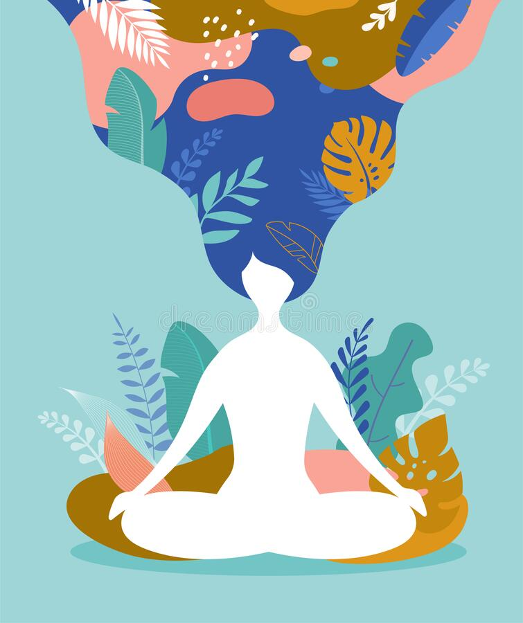 Free Coping With Stress And Anxiety Using Mindfulness, Meditation And Yoga. Vector Background In Pastel Vintage Colors With A Royalty Free Stock Image - 176765196