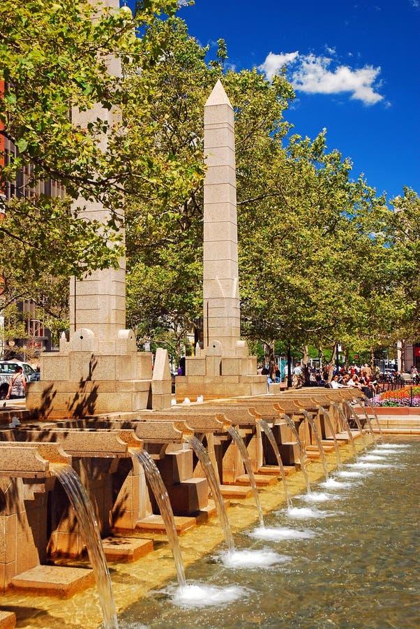 Copley广场,波士顿喷泉  库存图片