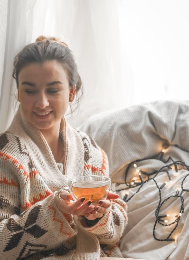 Copo acolhedor do chá a menina nas mãos fotos de stock