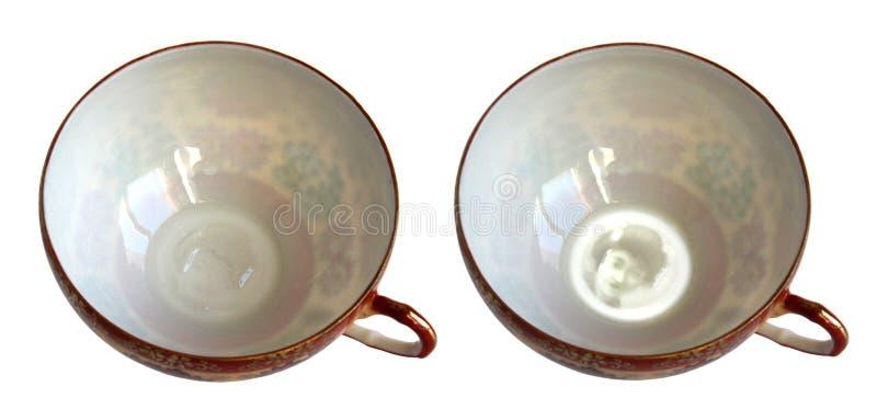 Copo antigo da porcelana com Lithophane imagem de stock