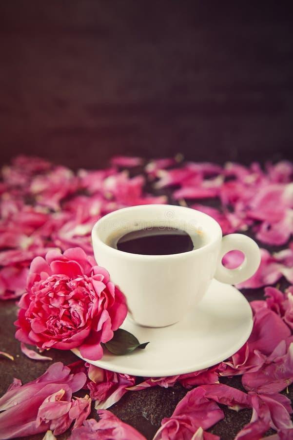 Copo ascendente próximo do café recentemente fabricado cerveja e da flor cor-de-rosa da peônia nos pires no fundo preto com pétal fotos de stock
