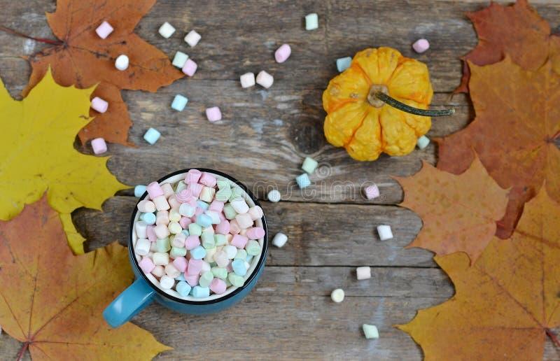 Copo azul do chocolate quente com marshmallows coloridos foto de stock royalty free