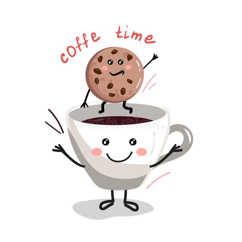Copo bonito dos desenhos animados de coffee2 ilustração stock