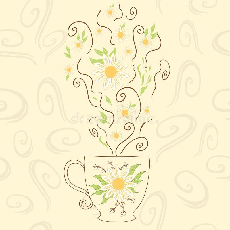 Copo bonito tirado mão com chá de camomila Aperfeiçoe o vapor quente com flores e erva sob a caneca Objeto positivo ilustração royalty free