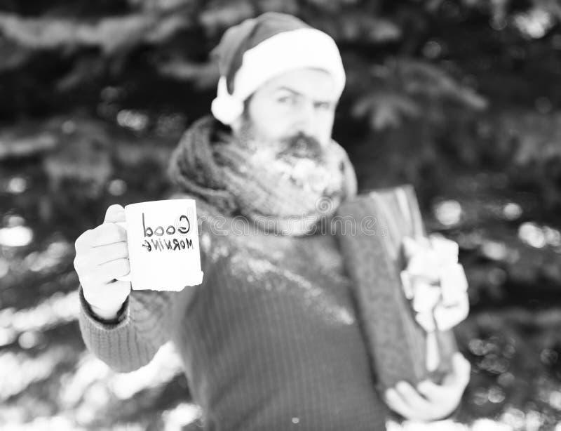 Copo branco com texto do bom dia à disposição do homem considerável no chapéu de Papai Noel, no moderno farpado com barba e no bi imagem de stock royalty free