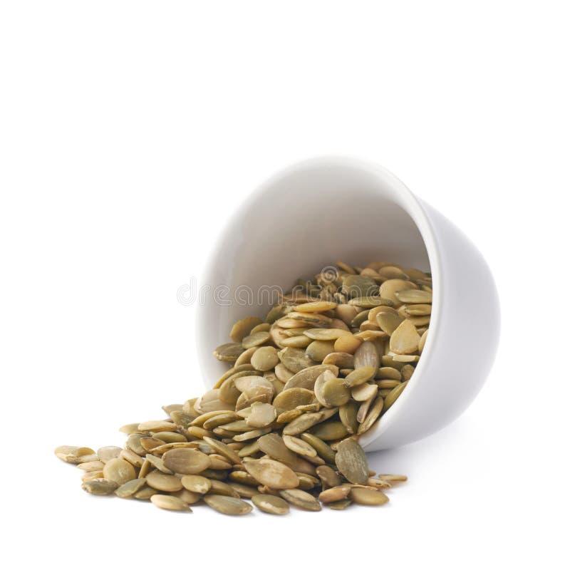 Copo branco enchido com as sementes de abóbora imagem de stock royalty free