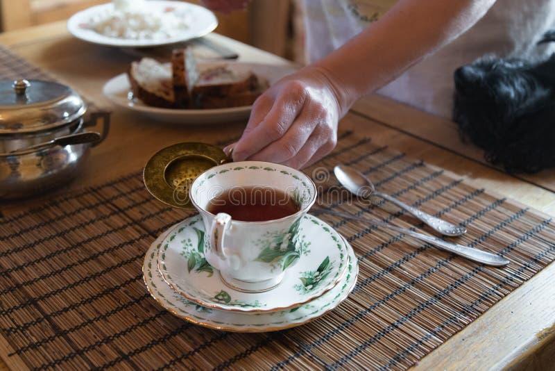 Copo caseiro do café da manhã do chá, do pão de banana e do requeijão fotos de stock royalty free