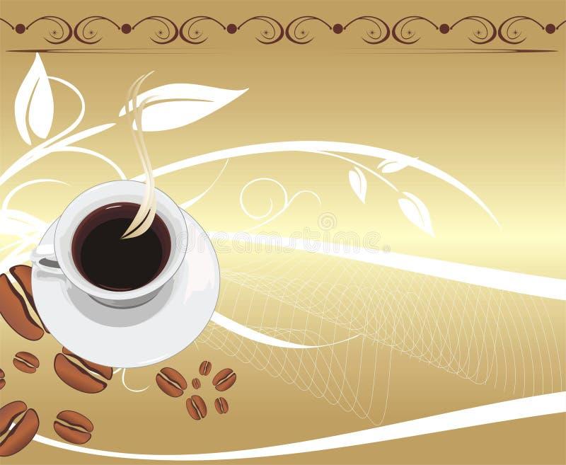 Copo com café no fundo abstrato.   ilustração royalty free