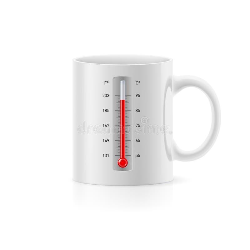Copo com termômetro ilustração stock