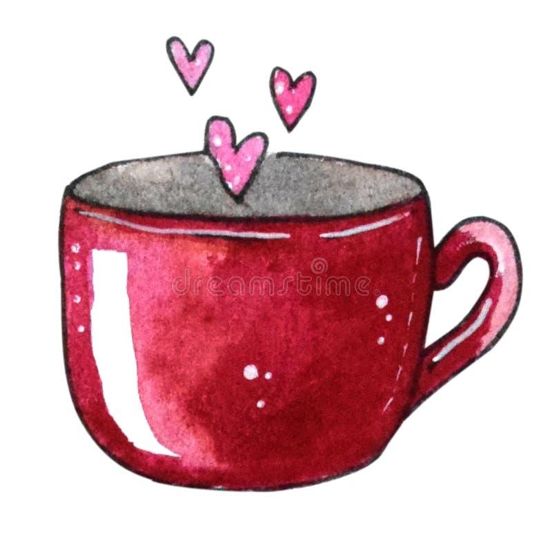 Copo da aquarela com corações para o dia de Valentim ilustração stock
