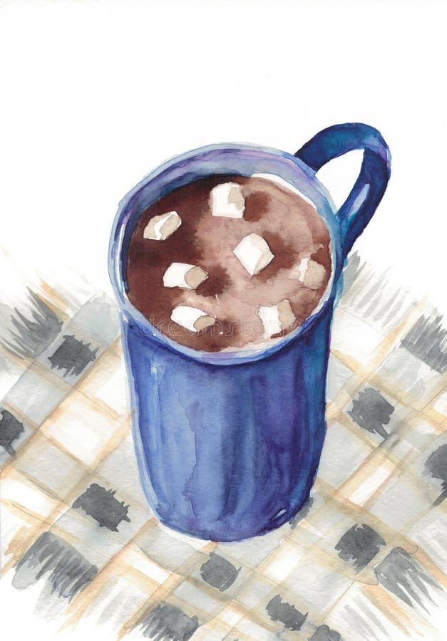 Copo da aquarela do cacau com marshmallows ilustração stock