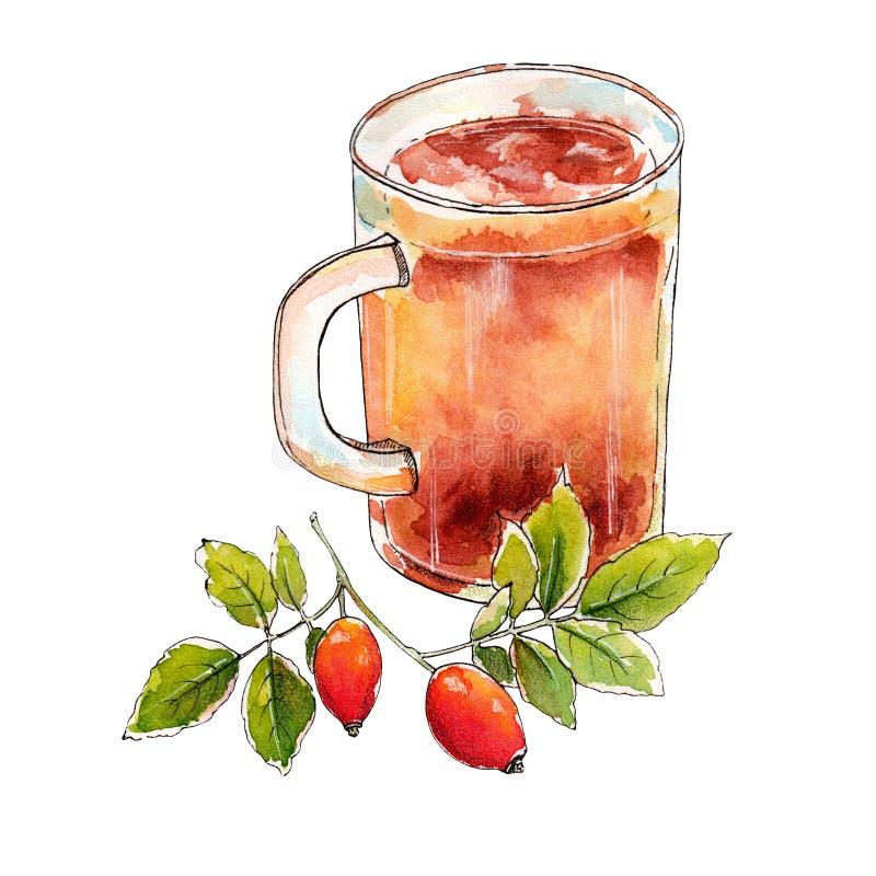 Copo da aquarela do chá saboroso com uma refeição matinal verde ilustração royalty free