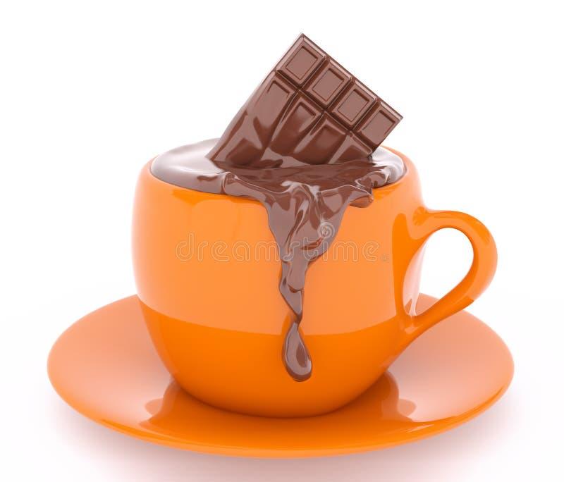 Copo da barra de derretimento da rendição do chocolate 3d ilustração royalty free