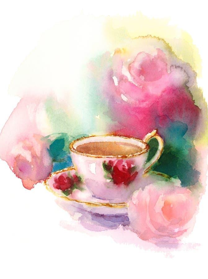 Copo da porcelana do vintage de Berry Tea e das rosas da aquarela da mão da ilustração da vida ainda tirados ilustração royalty free