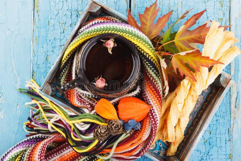 Copo da tisana com cookies e as decorações diferentes foto de stock