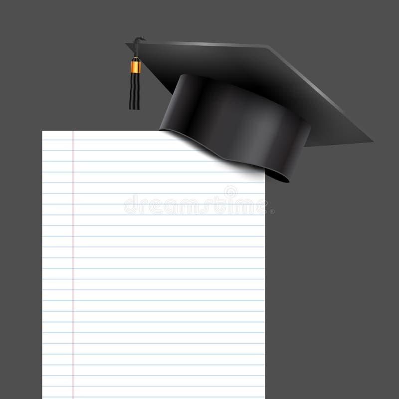 Copo da universidade da graduação da educação no canto de papel Papel de nota ilustração do vetor