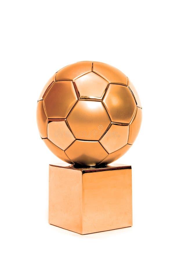 Copo de bronze do futebol fotos de stock