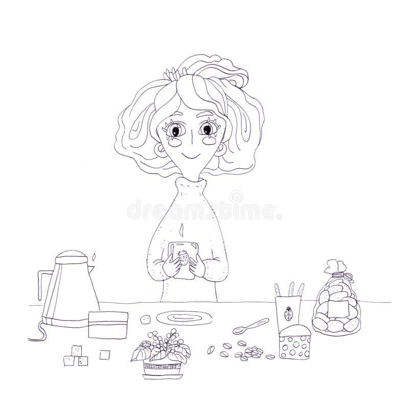 Copo de café bonito da manhã dos desenhos animados do caráter da menina da beleza monocromática preto e branco do esboço do almoç ilustração royalty free