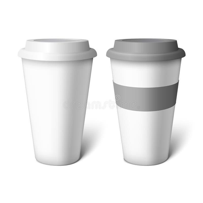 Copo de café branco do modelo ilustração royalty free