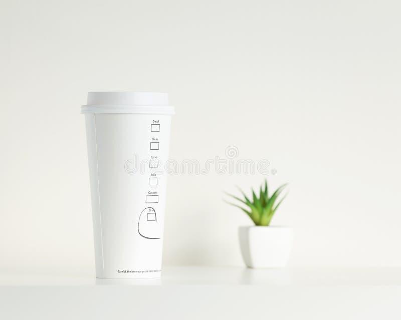 Copo de café branco e planta em pasta verde fotos de stock