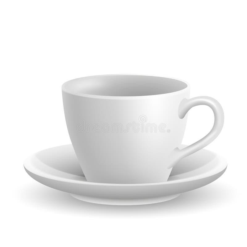 Copo de café cerâmico realístico bonito no fundo branco ilustração do vetor