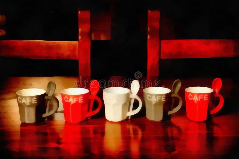 Copo de café colorido da pintura de Digitas na tabela de madeira ilustração stock