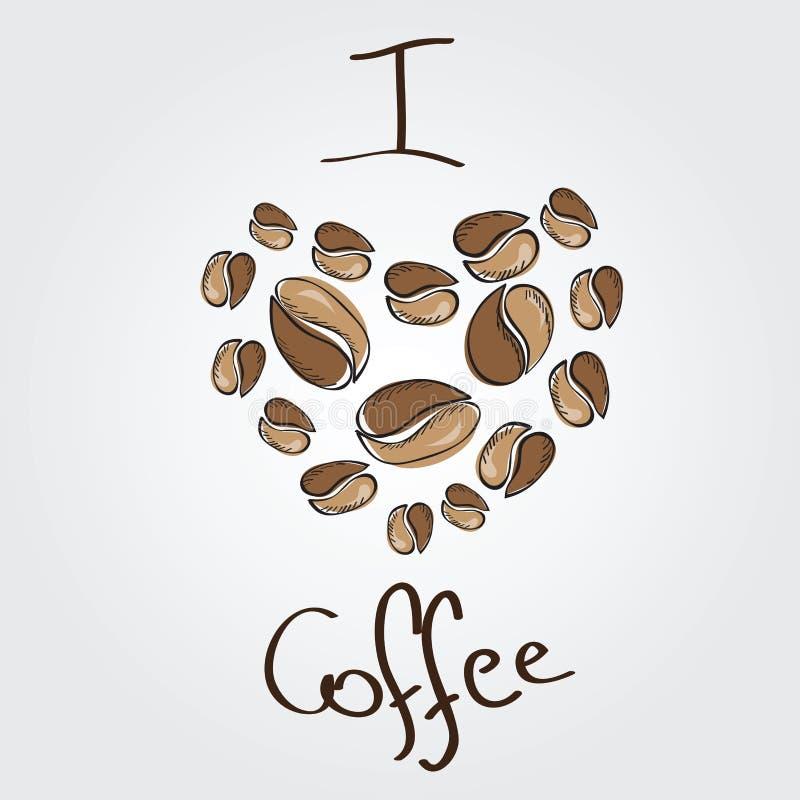 Copo de café com coração Coração dos feijões de café ilustração do vetor