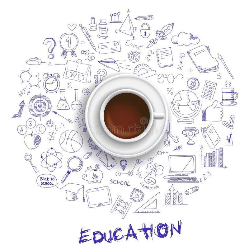 Copo de café com grupo de ícones da educação no estilo da garatuja ilustração do vetor