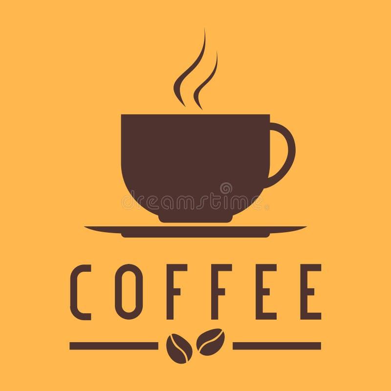 Copo de café com logotipo do feijão ilustração royalty free