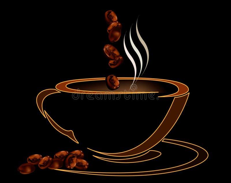 Copo de café com os feijões no fundo preto ilustração royalty free