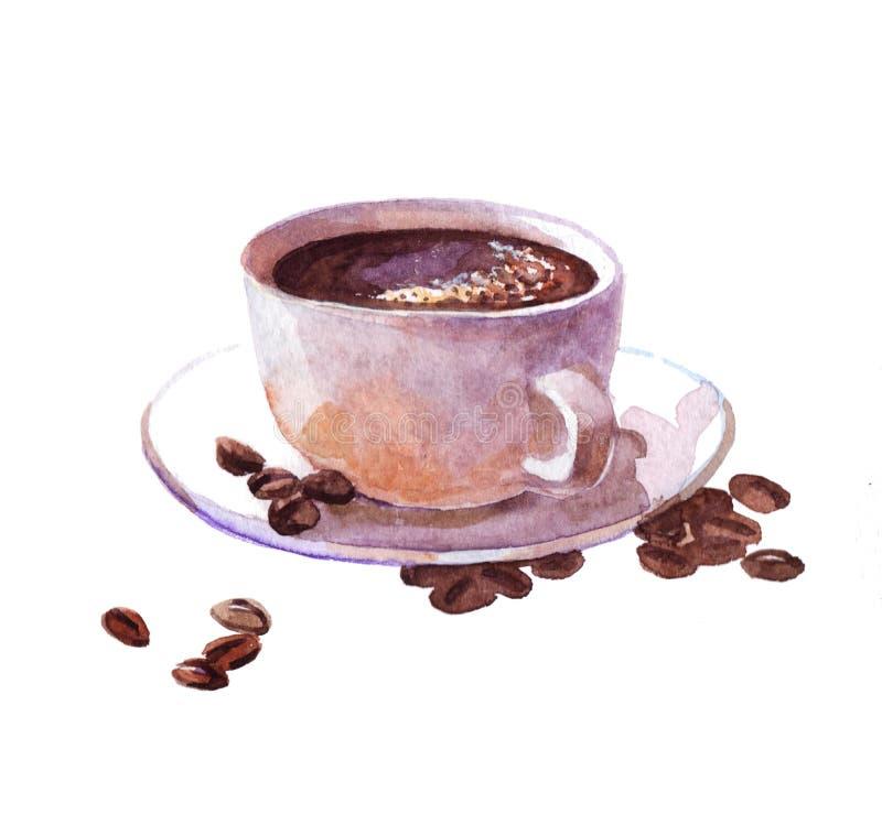 Copo de café da aquarela com o bolo isolado ilustração do vetor