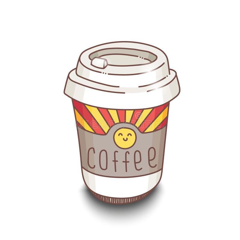 Copo de café desenhado à mão bonito do estilo dos desenhos animados com sombra no fundo branco ilustração stock
