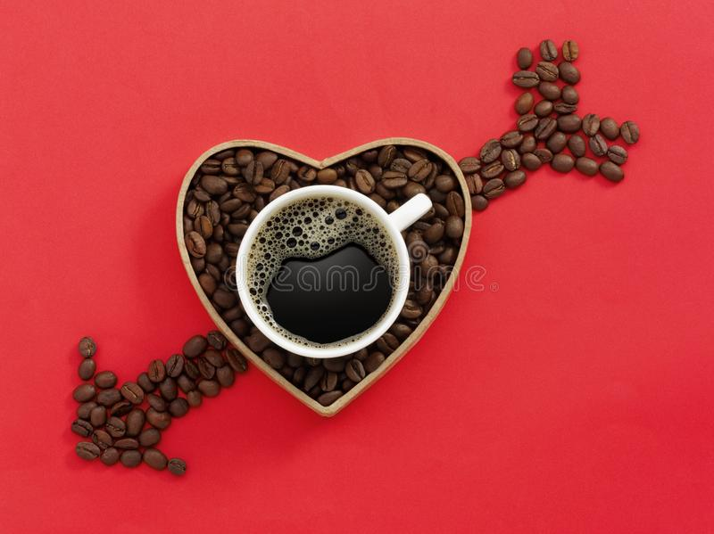 Copo de café do amor fotografia de stock