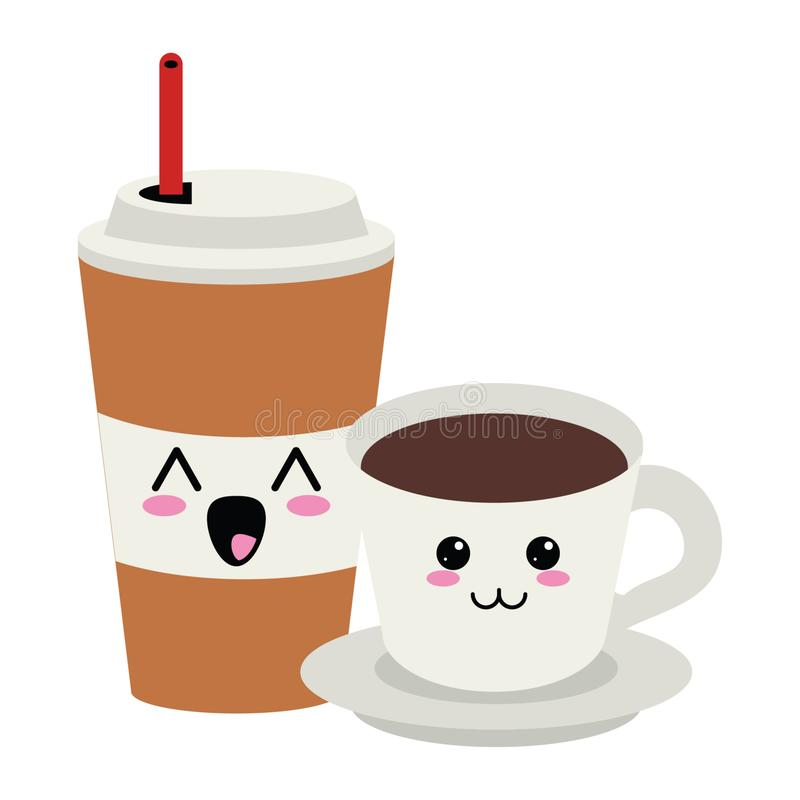Copo de café do gelo e para beber desenhos animados quentes do kawaii ilustração stock