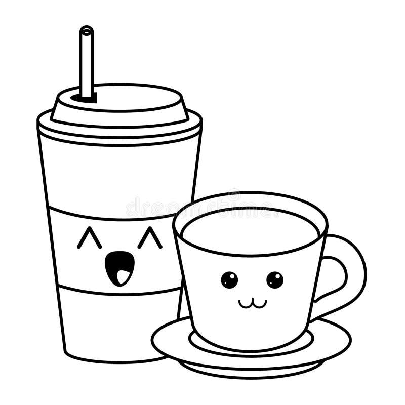 Copo de café do gelo e para beber desenhos animados quentes do kawaii em preto e branco ilustração royalty free
