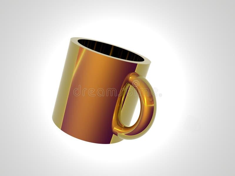 Copo de café do ouro ilustração stock
