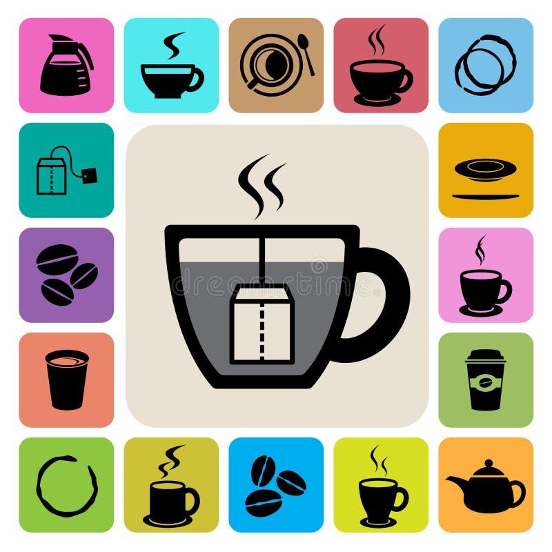 Copo de café e de copo de chá grupo do ícone Ilustração ilustração royalty free