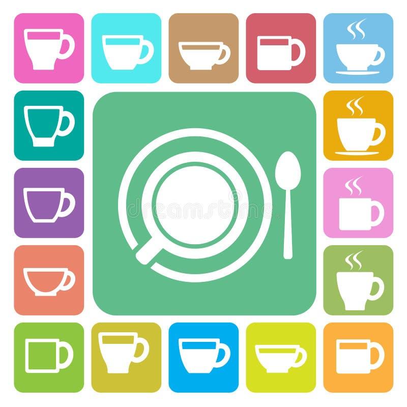Copo de café e de copo de chá grupo do ícone Ilustração ilustração stock