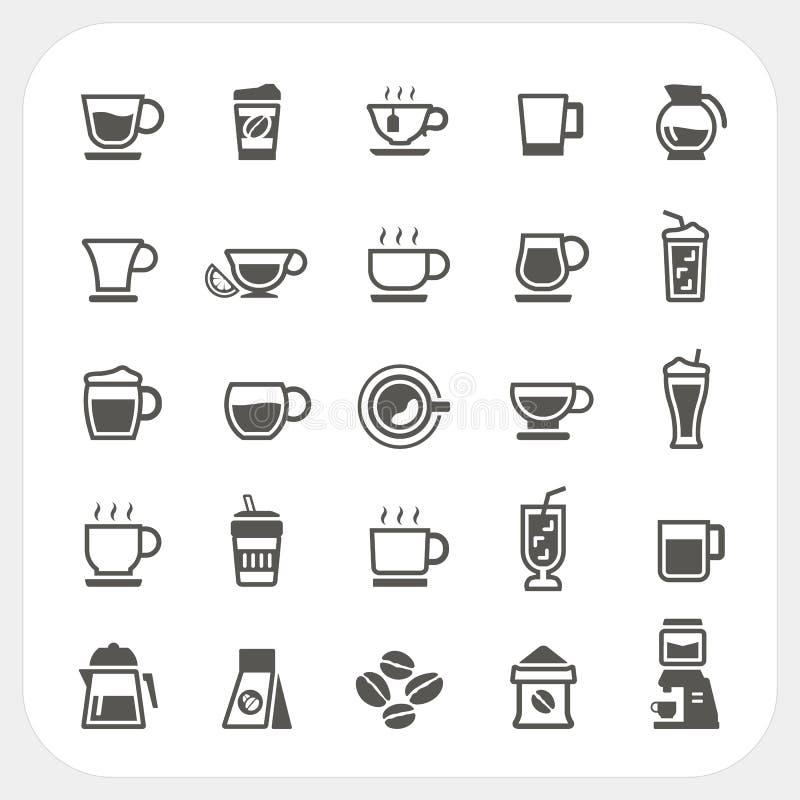 Copo de café e de copo de chá ícones ajustados ilustração do vetor