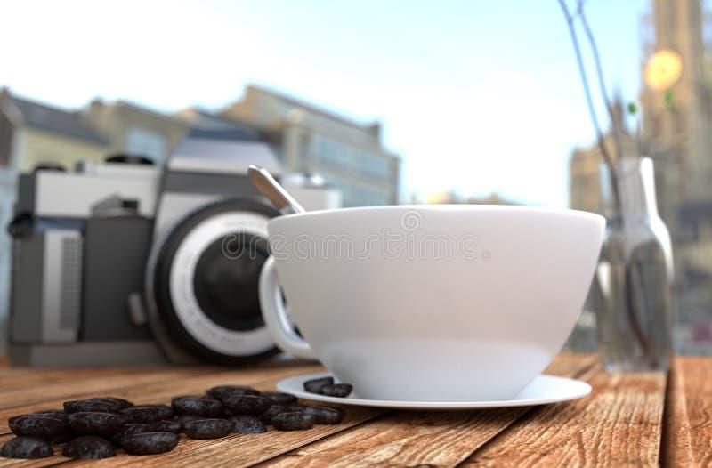 Copo de café e feijão de café, câmera e vaso na tabela de madeira rendi??o 3d ilustração do vetor